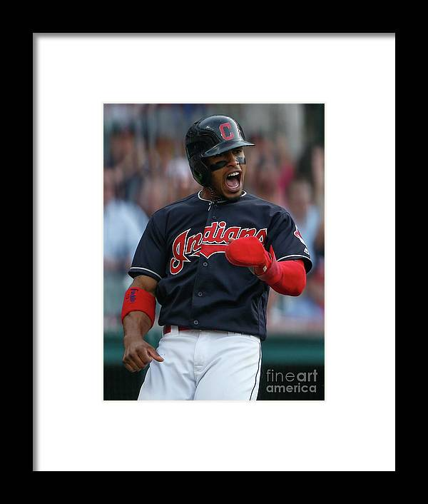 Three Quarter Length Framed Print featuring the photograph Michael Brantley and Francisco Lindor by Ron Schwane