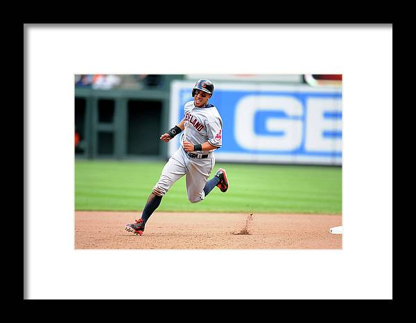 American League Baseball Framed Print featuring the photograph Michael Brantley And Lonnie Chisenhall by Mitchell Layton