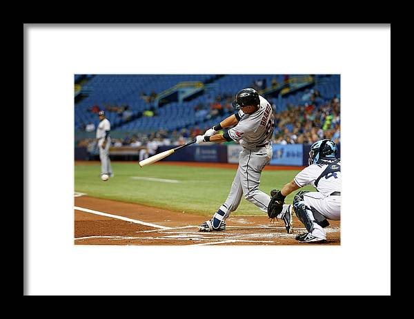 Baseball Catcher Framed Print featuring the photograph Michael Brantley, Rene Rivera, and Jason Kipnis by Brian Blanco