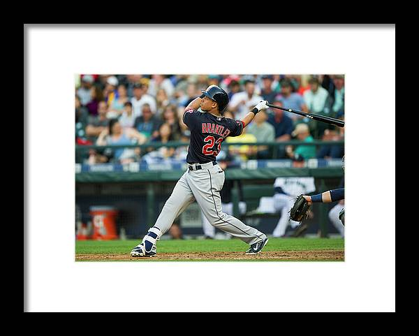 People Framed Print featuring the photograph Michael Brantley by Rich Lam