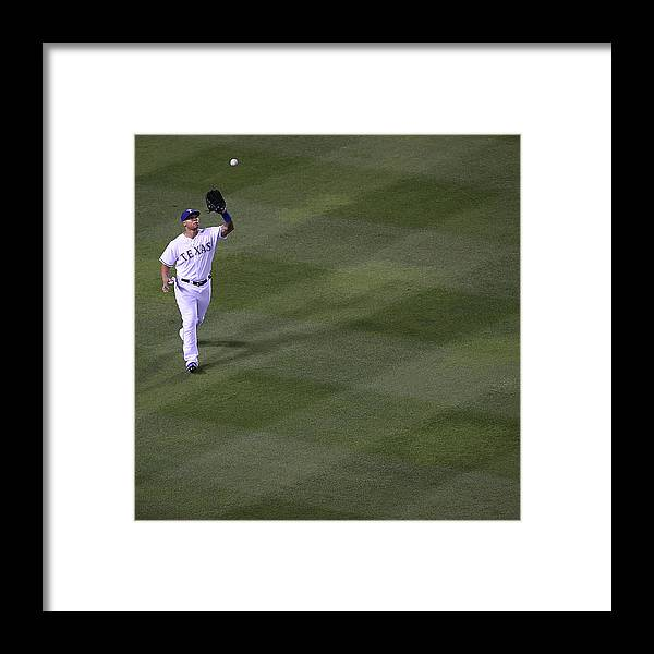 American League Baseball Framed Print featuring the photograph Michael Choice and Derek Norris by Rick Yeatts