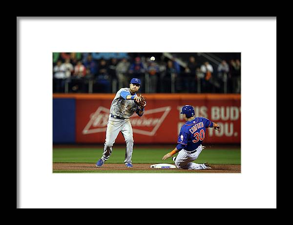Playoffs Framed Print featuring the photograph Michael Conforto and Ben Zobrist by Brad Mangin