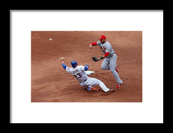 St. Louis Cardinals Framed Print featuring the photograph Michael Cuddyer and Jhonny Peralta by Mike Stobe