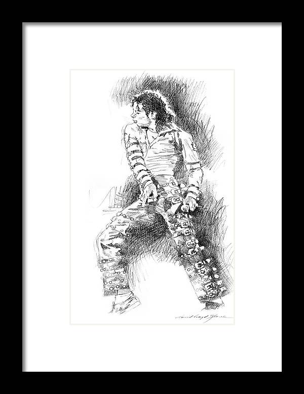 Michael Jackson Framed Print featuring the drawing Michael Jackson - Onstage by David Lloyd Glover