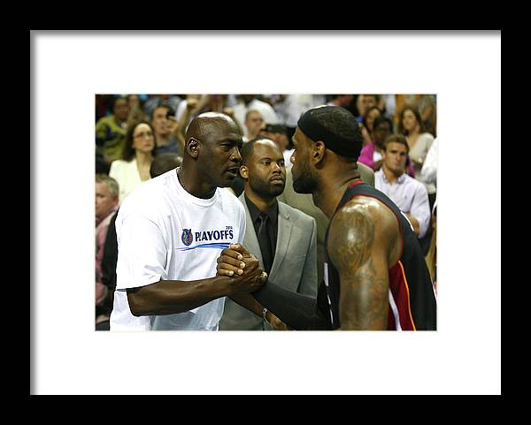 Playoffs Framed Print featuring the photograph Michael Jordan and Lebron James by Streeter Lecka