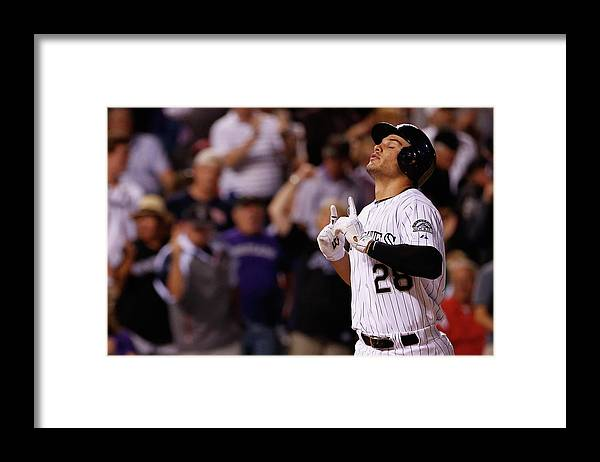 People Framed Print featuring the photograph Michael Wacha and Nolan Arenado by Doug Pensinger