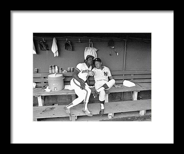 American League Baseball Framed Print featuring the photograph Mickey Mantle and Hank Aaron by Ronald C. Modra/sports Imagery