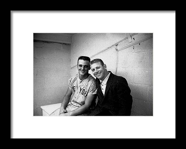 American League Baseball Framed Print featuring the photograph Mickey Mantle and Roger Maris by Herb Scharfman/sports Imagery
