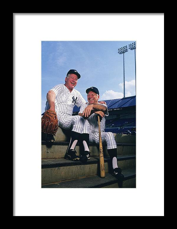 1980-1989 Framed Print featuring the photograph Mickey Mantle and Whitey Ford by Ronald C. Modra/sports Imagery