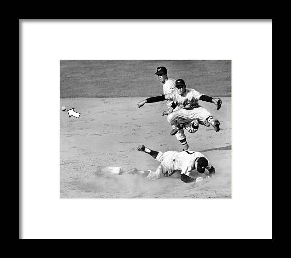 American League Baseball Framed Print featuring the photograph Mickey Mantle and Yogi Berra by New York Daily News Archive