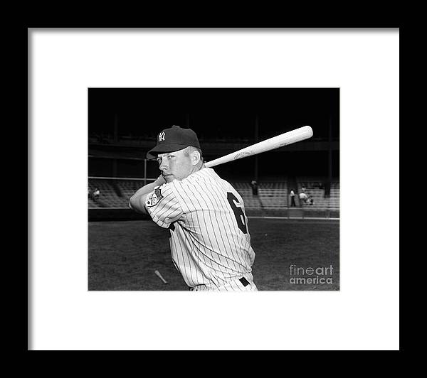 American League Baseball Framed Print featuring the photograph Mickey Mantle by Kidwiler Collection