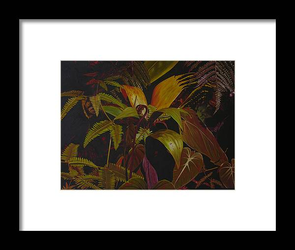 Plant Framed Print featuring the painting Midnight in the garden by Thu Nguyen