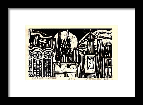 Bizarre Framed Print featuring the mixed media Midnight Wind Over Manhattan by Seth Weaver