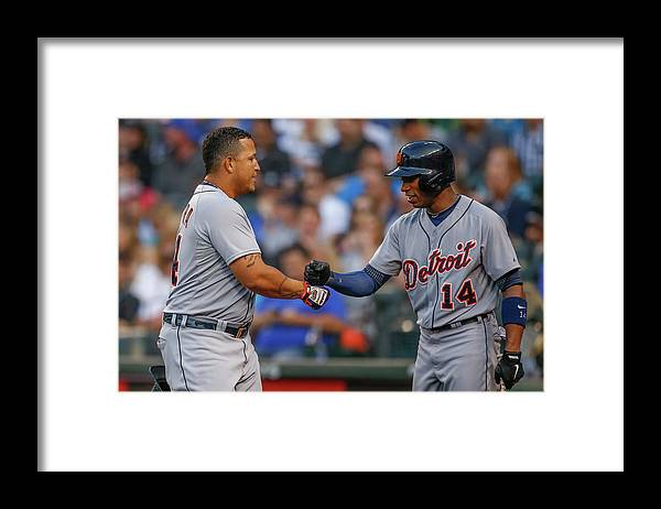 American League Baseball Framed Print featuring the photograph Miguel Cabrera and Austin Jackson by Otto Greule Jr
