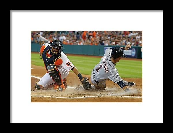 People Framed Print featuring the photograph Miguel Cabrera and Hank Conger by Bob Levey