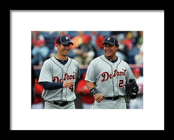 The End Framed Print featuring the photograph Miguel Cabrera and Rick Porcello by Doug Benc