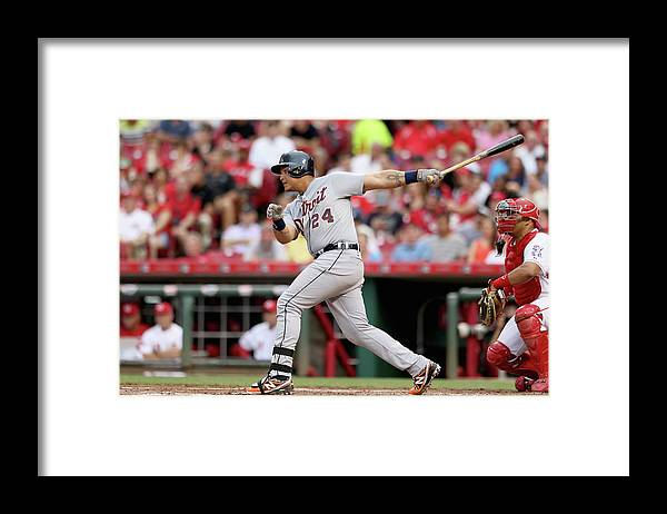 Great American Ball Park Framed Print featuring the photograph Miguel Cabrera by Andy Lyons