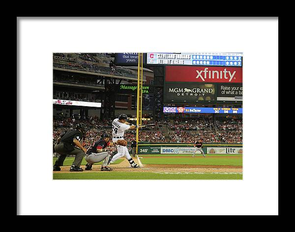 People Framed Print featuring the photograph Miguel Cabrera, Anthony Gose, And Rajai Davis by Leon Halip