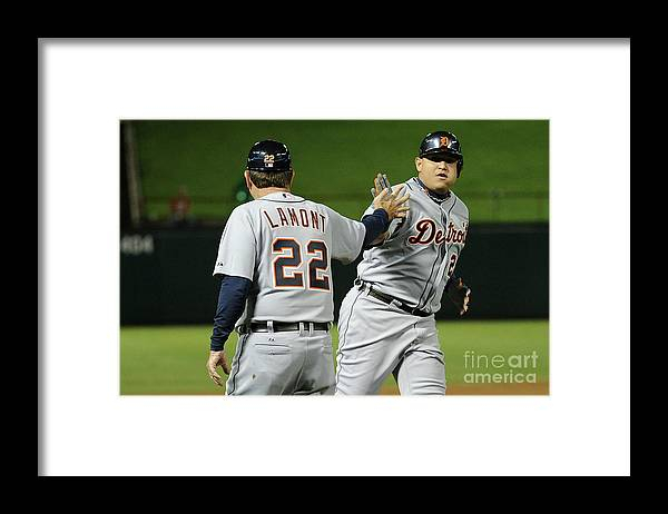 People Framed Print featuring the photograph Miguel Cabrera by Harry How