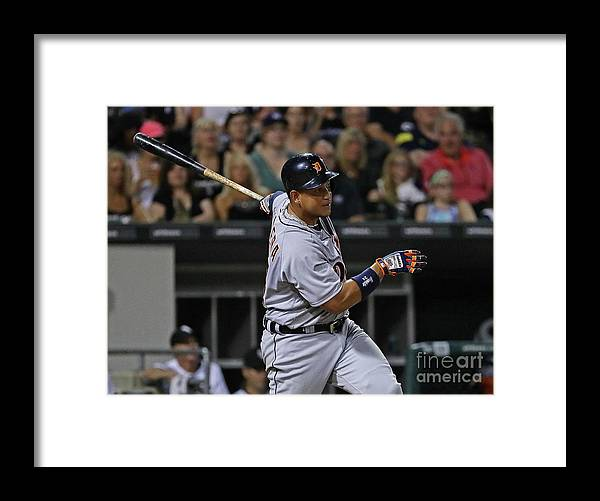 Three Quarter Length Framed Print featuring the photograph Miguel Cabrera by Jonathan Daniel