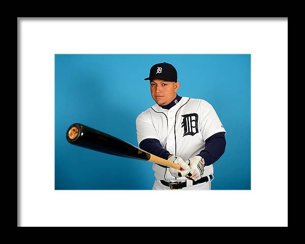 Media Day Framed Print featuring the photograph Miguel Cabrera by Mark Cunningham