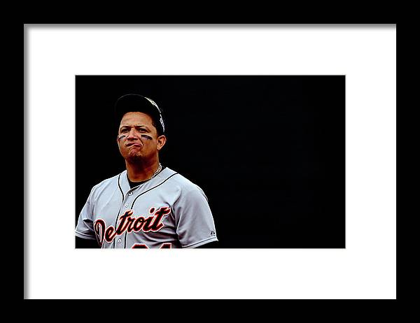 Game Two Framed Print featuring the photograph Miguel Cabrera by Patrick Smith
