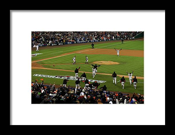American League Baseball Framed Print featuring the photograph Miguel Cabrera, Sergio Romo, and Buster Posey by Jonathan Daniel