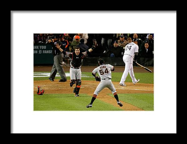 American League Baseball Framed Print featuring the photograph Miguel Cabrera, Sergio Romo, and Buster Posey by Leon Halip