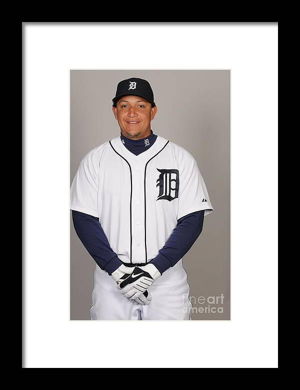 Media Day Framed Print featuring the photograph Miguel Cabrera by Tony Firriolo