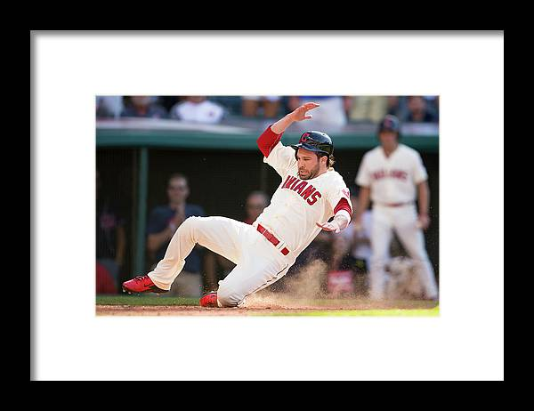 American League Baseball Framed Print featuring the photograph Mike Aviles and Jason Kipnis by Jason Miller