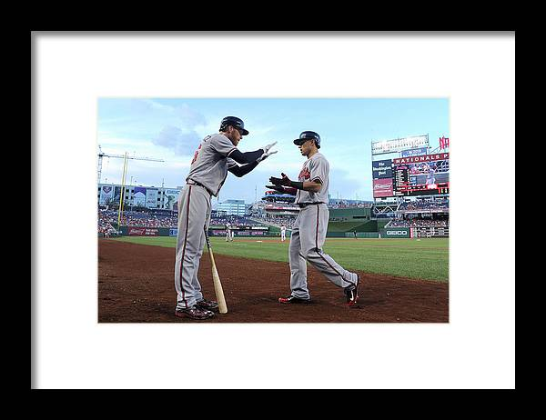 Second Inning Framed Print featuring the photograph Mike Foltynewicz And Jace Peterson by Greg Fiume