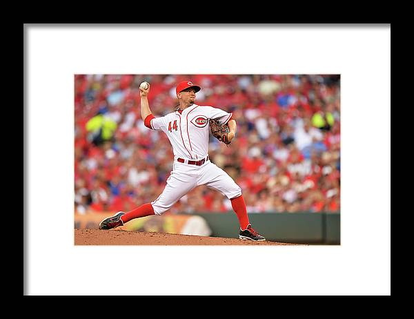 Great American Ball Park Framed Print featuring the photograph Mike Leake by Jamie Sabau