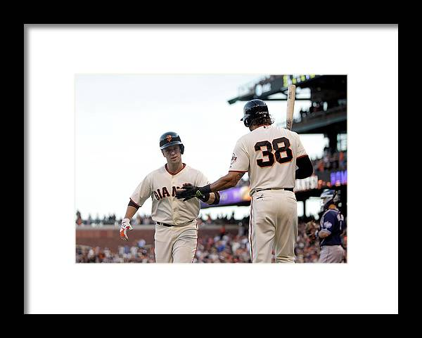 San Francisco Framed Print featuring the photograph Mike Morse and Buster Posey by Ezra Shaw