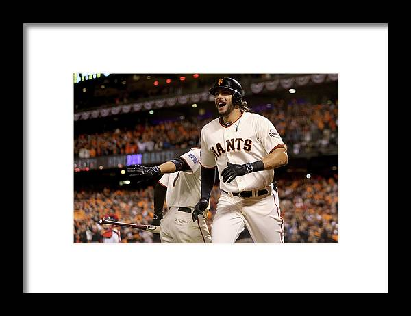 Playoffs Framed Print featuring the photograph Mike Morse by Christian Petersen