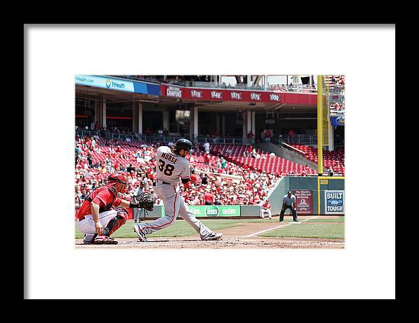 Great American Ball Park Framed Print featuring the photograph Mike Morse by Joe Robbins