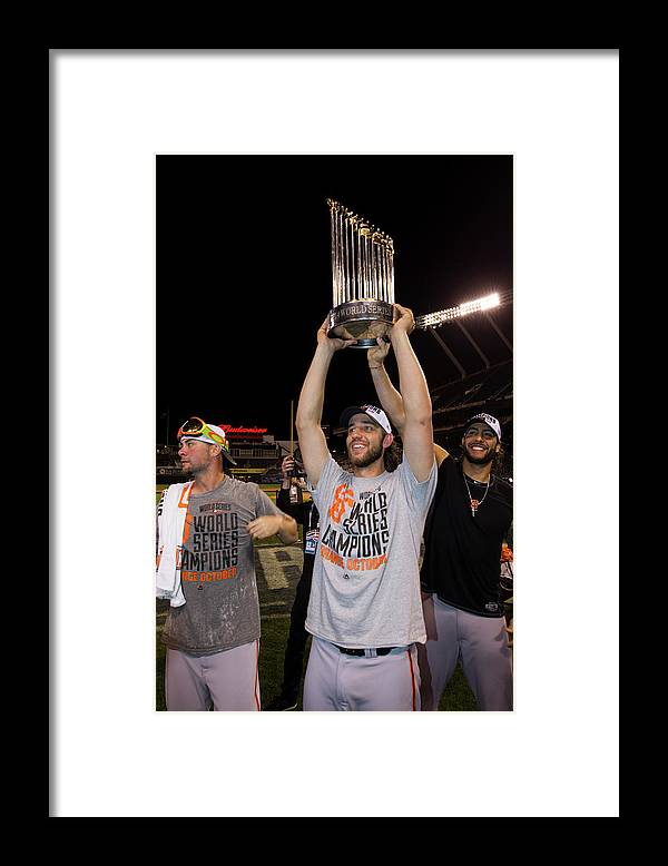 Playoffs Framed Print featuring the photograph Mike Morse, Ryan Vogelsong, and Madison Bumgarner by Brad Mangin