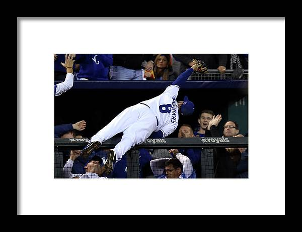People Framed Print featuring the photograph Mike Moustakas and Adam Jones by Ed Zurga