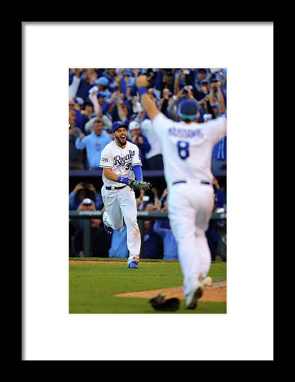 American League Baseball Framed Print featuring the photograph Mike Moustakas and Eric Hosmer by Dilip Vishwanat