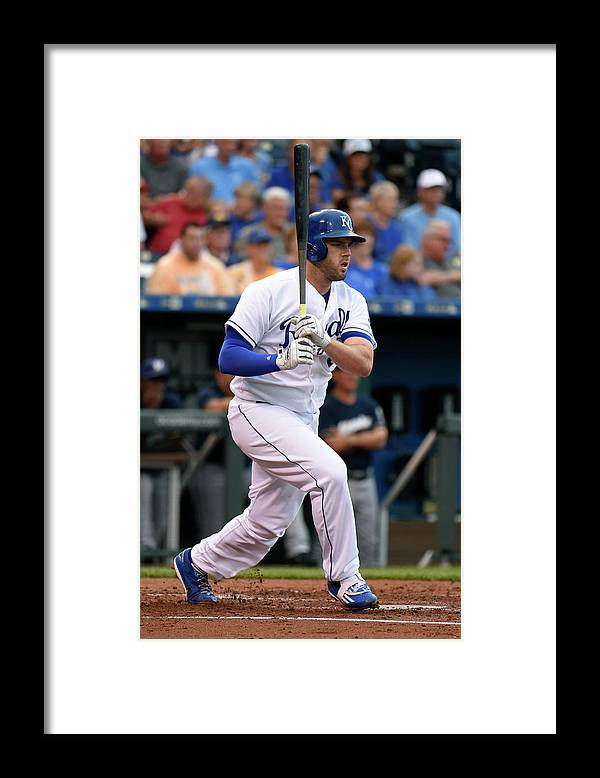Second Inning Framed Print featuring the photograph Mike Moustakas by Ed Zurga