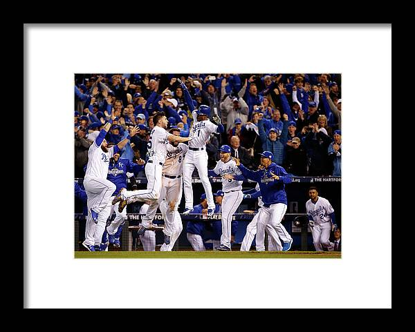 People Framed Print featuring the photograph Mike Moustakas, Jarrod Dyson, and Eric Hosmer by Sean M. Haffey