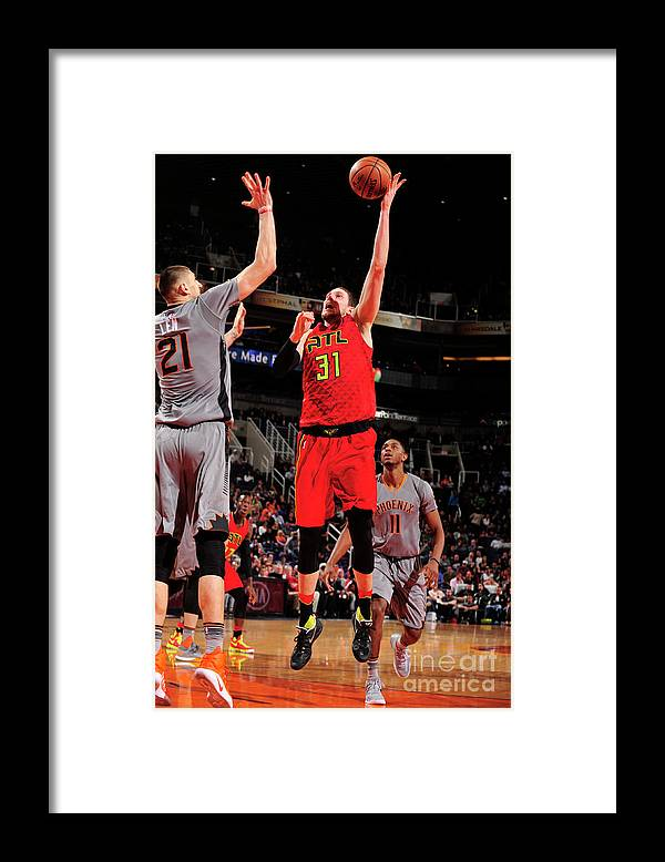 Nba Pro Basketball Framed Print featuring the photograph Mike Muscala by Barry Gossage
