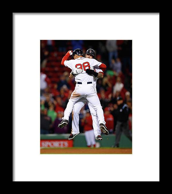 American League Baseball Framed Print featuring the photograph Mike Napoli and Grady Sizemore by Jared Wickerham