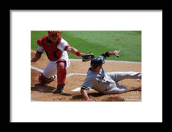 Baseball Catcher Framed Print featuring the photograph Mike Napoli and Paul Konerko by Kirby Lee