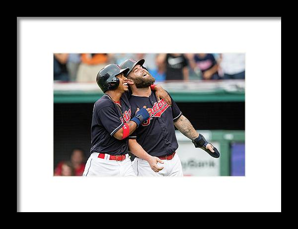 Three Quarter Length Framed Print featuring the photograph Mike Napoli, Lonnie Chisenhall, and Francisco Lindor by Jason Miller