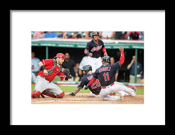 Baseball Catcher Framed Print featuring the photograph Mike Napoli, Lonnie Chisenhall, and Jett Bandy by Jason Miller
