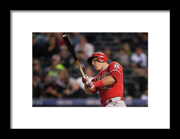 Three Quarter Length Framed Print featuring the photograph Mike Trout by Dustin Bradford