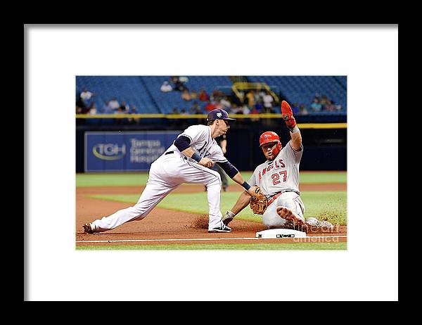 People Framed Print featuring the photograph Mike Trout by Julio Aguilar
