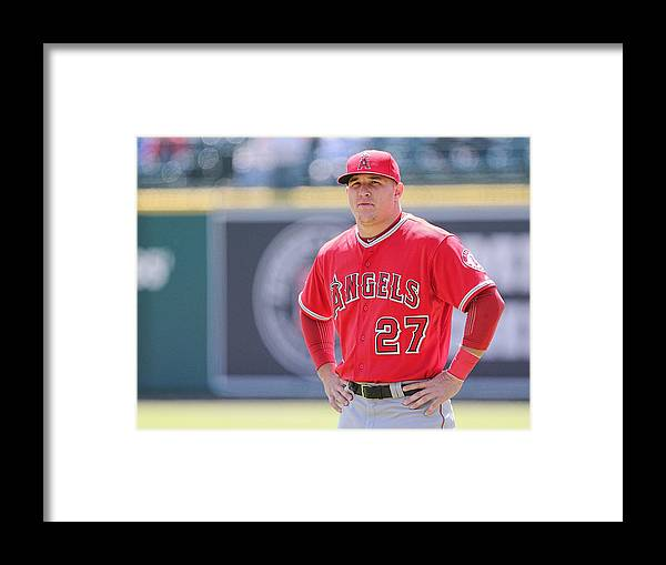 People Framed Print featuring the photograph Mike Trout by Leon Halip