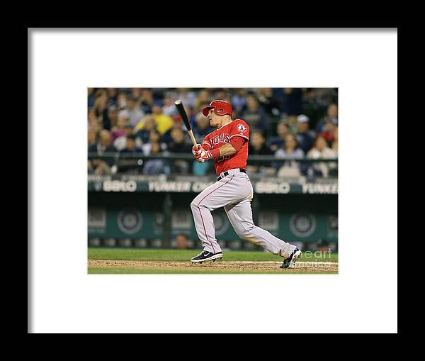 People Framed Print featuring the photograph Mike Trout by Otto Greule Jr