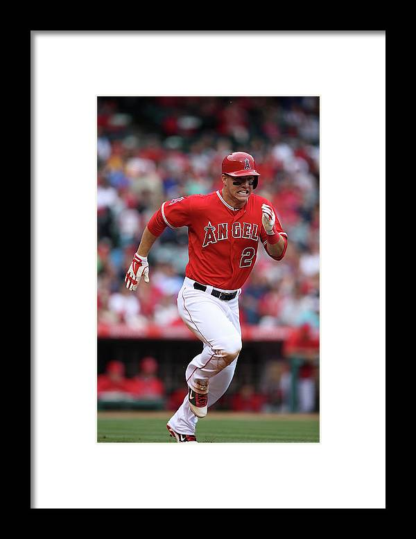 People Framed Print featuring the photograph Mike Trout by Paul Spinelli